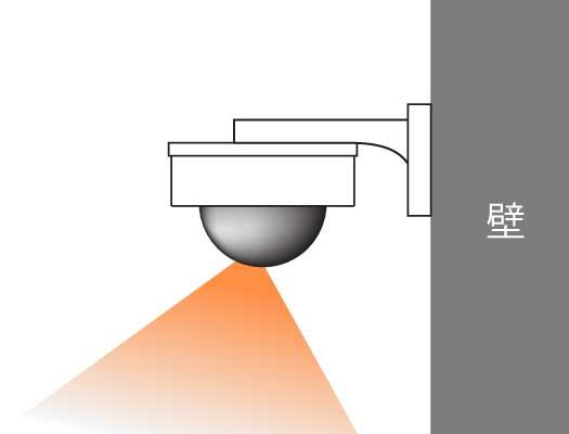 ドーム型ダミーカメラ壁に設置